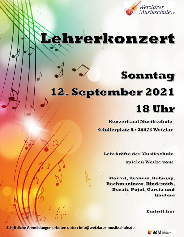 Lehrerkonzert am Sonntag 12. September 2021 um 18 Uhr